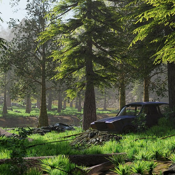 Abandoned Car in Forest Scene | Scene 51