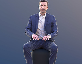 Lars 10435 - Sitting Working Business Man 3D asset