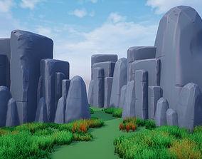 3D model VR / AR ready Stylized rocks 2