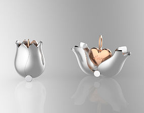 3D print model jewelry Lovely Tulip Heart Locket
