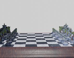 Glass Chess Set Wooden Board 3D model