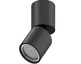 Black Cylindrical Light 3D Model halogen