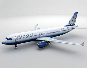 Airbus A320 Airliner - United Airlines 3D asset