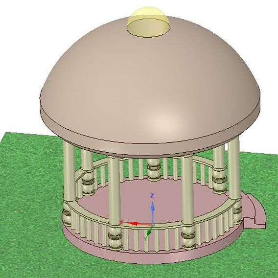 Project rotunda for a girl seamstress. It's Puppet  style wifh  a dome  and  spools of thread