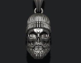 3D print model Bearded skull pendant with hat
