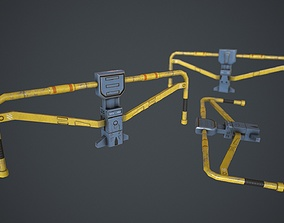 Low poly sci fi fence environment asset game-ready