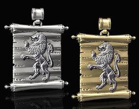 Lion-heraldic-with parchment women 3D print model