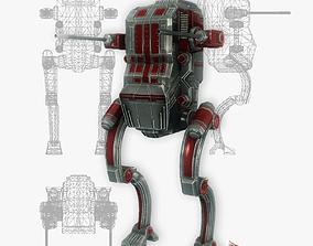 Sci-fi robot animated low poly 3D asset