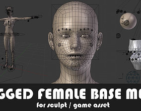 3D model Fully Rigged Female Base Mesh with Face Rig for 1