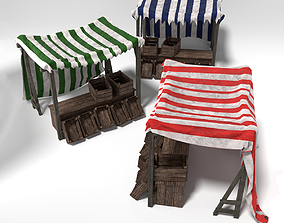 realtime Medieval Market Stall Tent Set Collection 3D 2