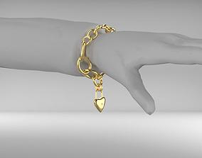Bracelet with heart lock - Corrected 3D asset