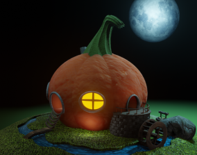 Pumpkin house with animated water mill 3D