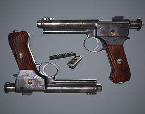 PBR Roth Steyr 1907 M7 gun with magazine 3D asset
