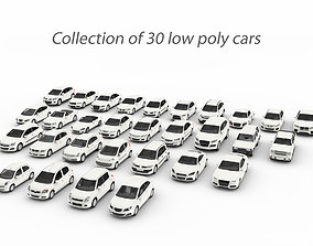 Collection of 30 low poly cars 3D asset game-ready