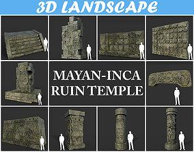 3D asset Low poly Mayan Inca Ruin Temple Modular Pack