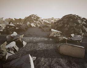Concrete Rubble pack Game ready 3D model