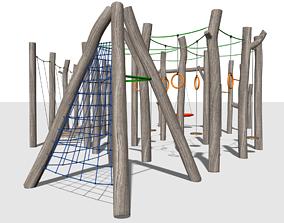 3D model Wood playgraund equipment