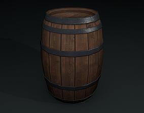3D asset low-poly Wooden Barrel
