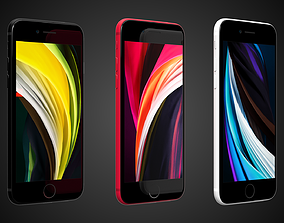 Apple iPhone SE 2020 - 3 Colors - Black White Red 3D asset