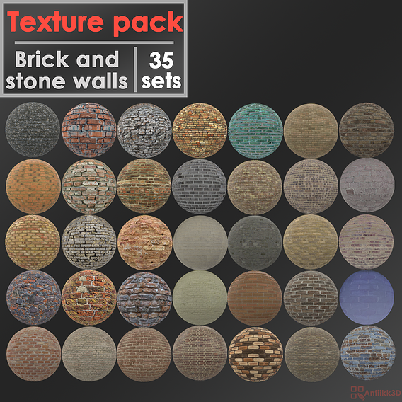 Texture pack brick and stone walls 35 sets