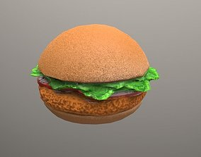 3D asset fried chicken sandwich Low Poly