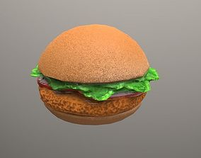 fried chicken sandwich Low Poly 3D model