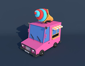 3D model Low Poly Ice Cream Car