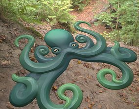 Stylized Octopus Relief and Ornament 3D asset