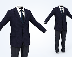Business Suit Man 3D asset low-poly