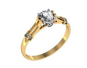 3D printable model milling Ring classic diamond set