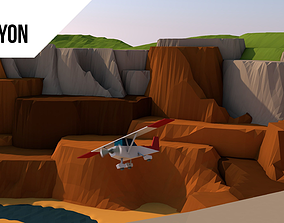 low poly canyon 3D asset