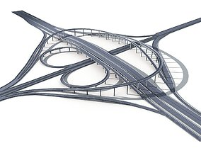 Highway Road Viaduct Flyover-11 3D model