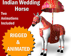 Indian Wedding Horse Rigegd and Animated 3D model