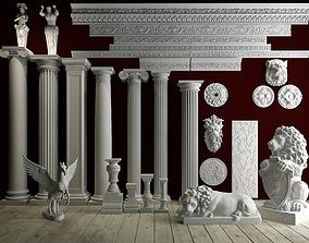 3D model lion Collection of Roman plaster lines