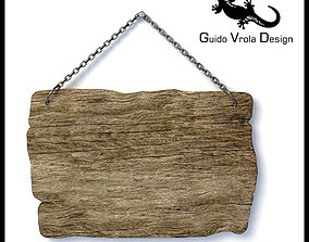 3D Hanging old wood board