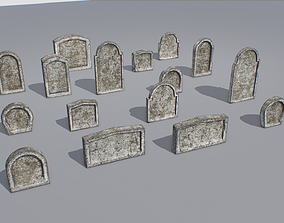 3D asset Gravestones pack 9