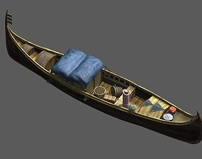 Ancient aisan small boat 3D