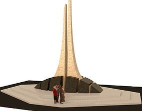 Monument of granite and marble 3D asset