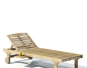 Wooden Chaise Lounge 3D model