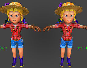3D model Farmer woman-high and low Poly