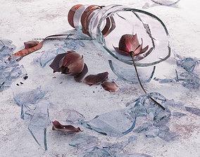 Rose in a broken bottle 3D