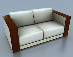 Two-Seat Wooden Beige Leather Couch 3D asset