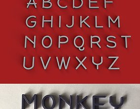 MONKEY uppercase and lowercase 3D Letters STL FILE