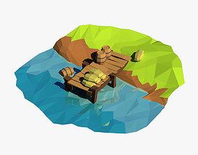 Cartoon pier 3D asset