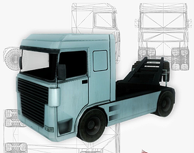 3D asset Container truck low poly