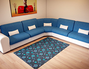 Corner couch 3D model game-ready