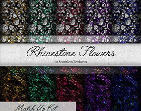 3D Rhinestone Flowers Seamless Textures Set