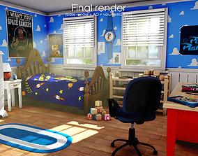 3D Cartoon bedroom environment from Toy Story cartoon