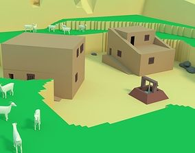 Low Poly Desert Canyon with Low Poly Goats 3D asset