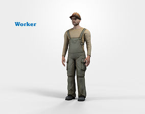 3D model Worker character rigged